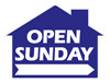 Open Sunday - House Shaped Sign 18x24 Blue