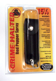 Pepper Spray Black Leather Key Chain .5 oz