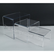 "Acrylic Shoe Riser Set Of 3 - 4""H - 6""H - 8""H -Perfect For Countertop Display"
