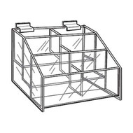 "3 Tier 6 Bin Display for Slatwall - 16""W x 3-3/4""D x 6""H"