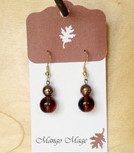 Brown Glass Dangle Earrings