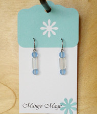 Blue & Iridescent Dangle Earrings