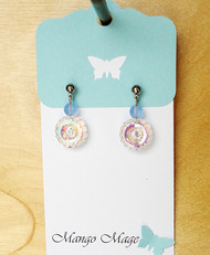 Blue Iridescent Flower Earrings