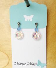 Blue Iridescent Flower Earrings