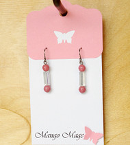 Pink & Iridescent Dangle Earrings