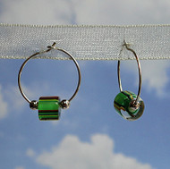 Sterling Silver Green Glass Cane Bead Hoops