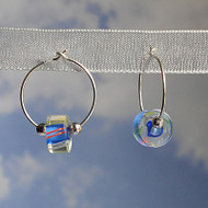 Sterling Silver Blue Glass Cane Bead Hoops