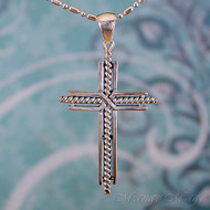 Rope Cross Sterling Silver Pendant