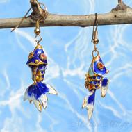 Blue Cloisonné Wiggle Fish Earrings