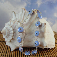 Murano Glass Evil Eye Sterling Silver Bracelet