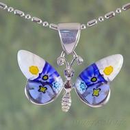 Millefiori Butterfly Sterling Silver Pendant - Style #1
