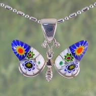 Millefiori Butterfly Sterling Silver Pendant - Style #2