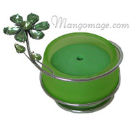 Green Crystal Flower Glass Incense Burner