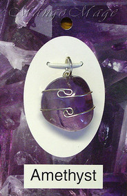 Amethyst Sterling Silver Wire-Wrapped Stone Pendant
