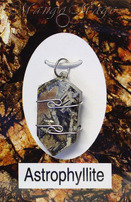 Astrophyllite Sterling Silver Wire-Wrapped Stone Pendant