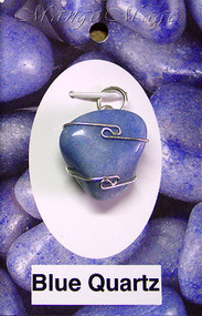 Blue Quartz Sterling Silver Wire-Wrapped Stone Pendant