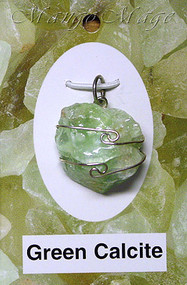 Green Calcite Sterling Silver Wire-Wrapped Stone Pendant