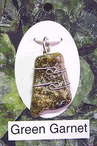 Green Garnet Sterling Silver Wire-Wrapped Stone Pendant