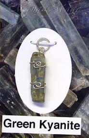 Green Kyanite Sterling Silver Wire-Wrapped Stone Pendant