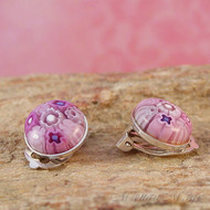 Pink Millefiori Clip-on Earrings