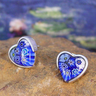 Blue Millefiori Heart Stud Earrings