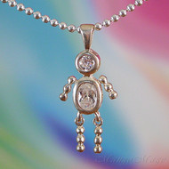 April Boy Sterling Silver C.Z. Birthstone Kids Pendant