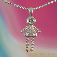 April Girl Sterling Silver C.Z. Birthstone Kids Pendant