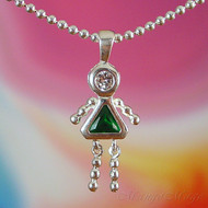 May Girl Sterling Silver C.Z. Birthstone Kids Pendant