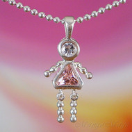 October Girl Sterling Silver C.Z. Birthstone Kids Pendant