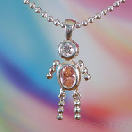 October Boy Sterling Silver C.Z. Birthstone Kids Pendant