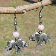 Strawberry Quartz Elephant Earrings
