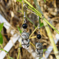 Black Onyx Panda Earrings