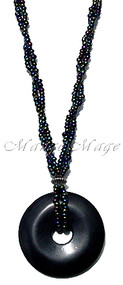 Black Beaded Stone Disc Necklace