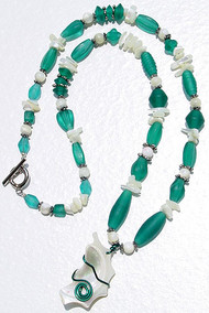 Mother of Pearl Teal Necklace