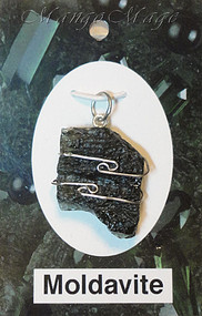 Moldavite Sterling Silver Wire-Wrapped Stone Pendant