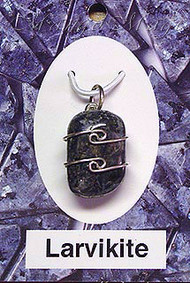 Larvikite Sterling Silver Wire-Wrapped Stone Pendant