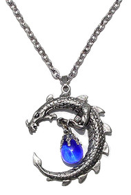 Blue Pewter Dragon Moon Necklace