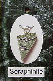 Seraphinite Sterling Silver Wire-Wrapped Stone Pendant