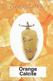 Orange Calcite Sterling Silver Wire-Wrapped Stone Pendant