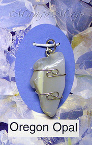 Oregon Opal Sterling Silver Wire-Wrapped Stone Pendant