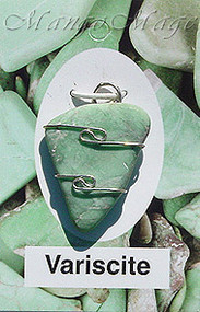 Variscite Sterling Silver Wire-Wrapped Stone Pendant