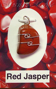 Red Jasper Sterling Silver Wire-Wrapped Stone Pendant
