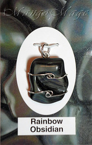 Rainbow Obsidian Sterling Silver Wire-Wrapped Stone Pendant