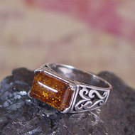 Valerio888 Cognac Amber Sterling Silver Ring - Size 10