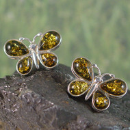 Valerio888 Green Amber Sterling Silver Butterfly Earrings
