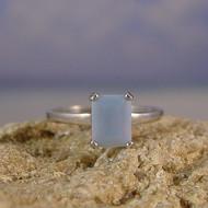 Owyhee Blue Opal Sterling Silver Ring - Size 8