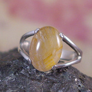 Cacoxenite Sterling Silver Ring - Size 8