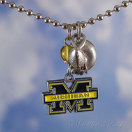 University of Michigan Wolverines Charm Necklace - Officially licensed