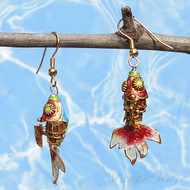 Rose Pink Cloisonné Wiggle Fish Earrings