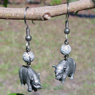 Silver Leaf Jasper Rhino Earrings